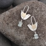 Bird earrings, silver, gold (18k) and aquamarine beads, £82.00