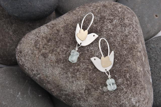Bird earrings, silver, gold (18k) and aquamarine beads, £82.00