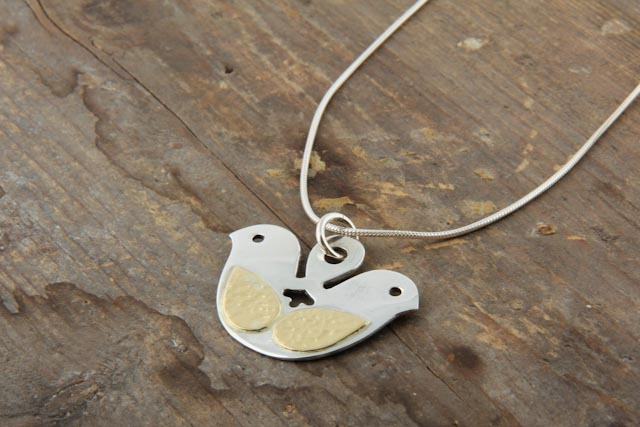Double haeded bird necklace on chain, silver and gold (18k).  £94.00