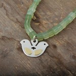 Double headed bird necklace, silver, gold (18k) and new jade beads.  £105.00