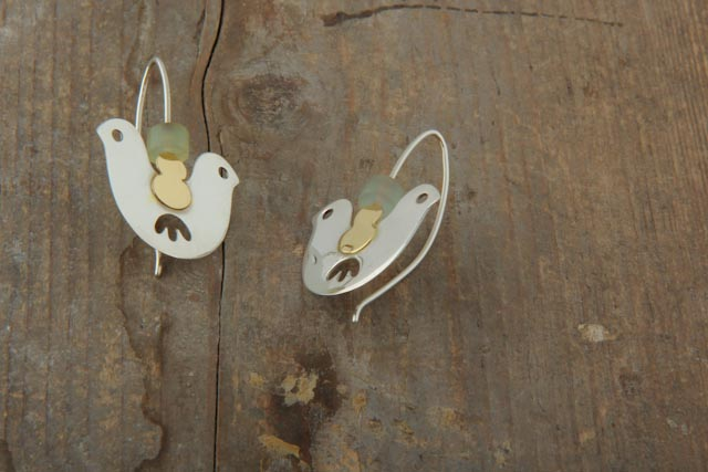 Double headed bird earrings, silver, gold (18k) and new jade.  £78.00