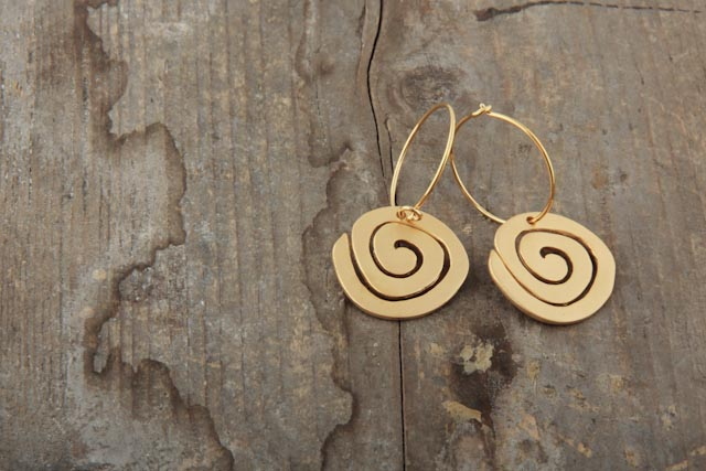 Spiral earrings, gold plated.  £64.00
