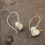 Heart earrings, silver and gold (18k).  £76.00