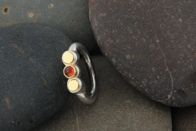 Abigail ring, silver, gold (18k) and amber.  £105.00