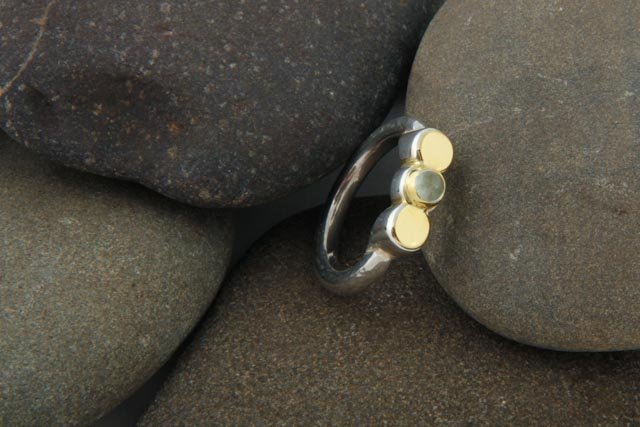 Abigail ring, silver, gold (18k) and aquamarine.  £105.00