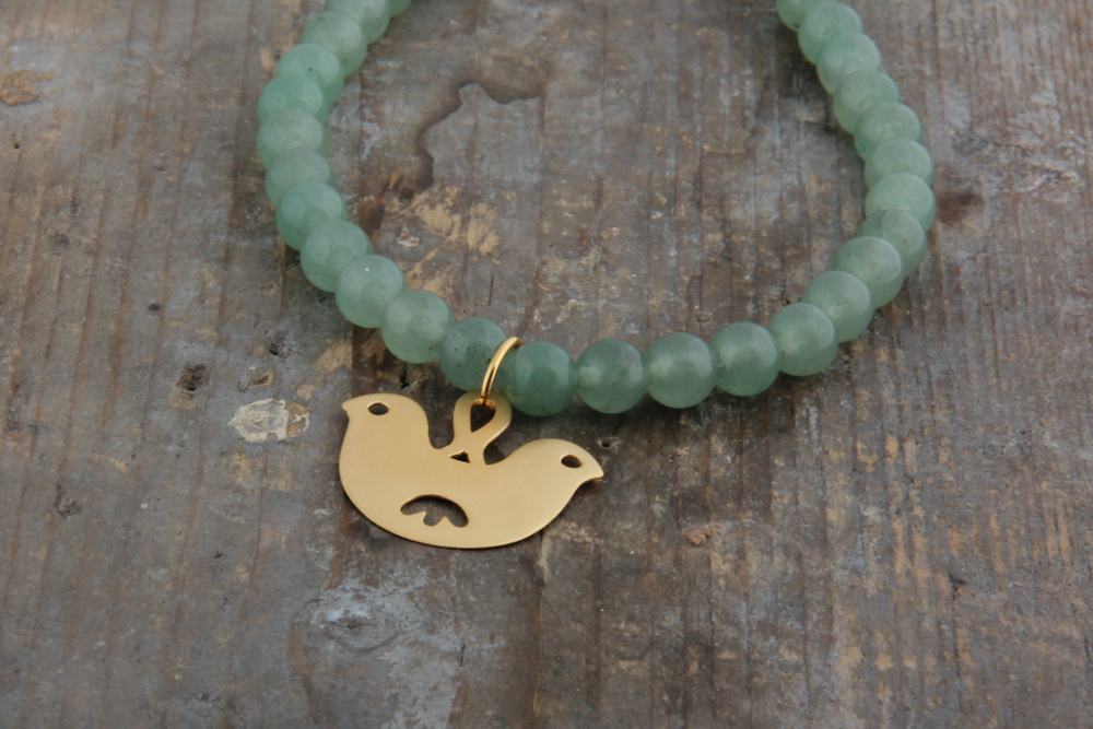 Small double headed bird necklace, gold plated with aventurine beads.  £62.00