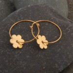 Flower on hoop earrings, gold plated.  £35.00