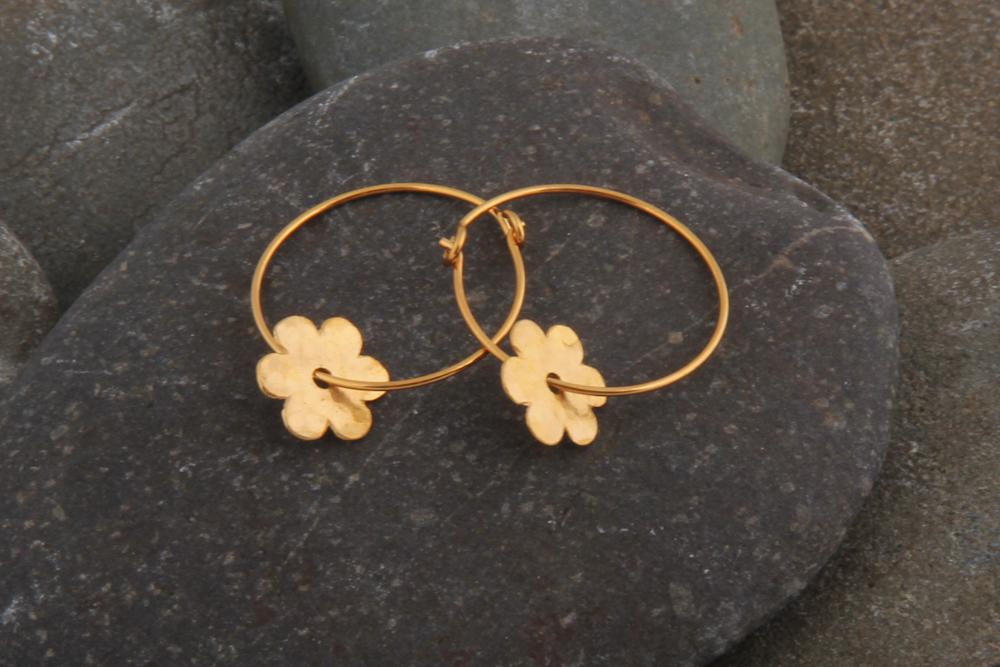 Flower on hoop earrings, gold plated.  £35.00