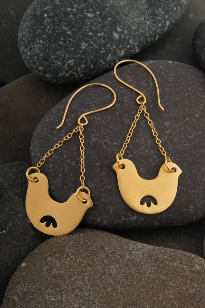 Double headed bird on chain earrings, gold plated.  £70.00