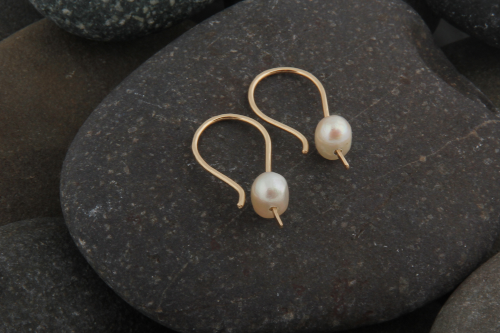 Pearl earrings. Gold filled wire with pearls.   £27.00