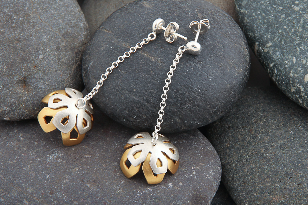 Winter Rose earrings, silver, gold plated silver.  £65.00